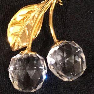Swarovski Crystal cherries brooch pin